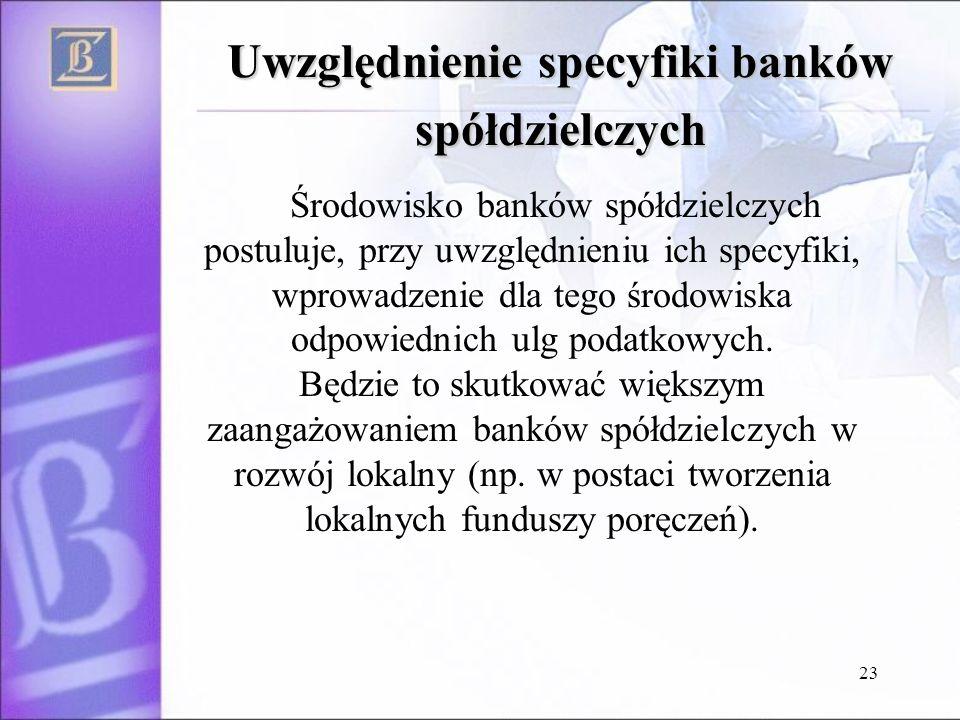 23 Uwzględnienie specyfiki banków spółdzielczych Środowisko banków spółdzielczych postuluje, przy uwzględnieniu ich specyfiki, wprowadzenie dla tego środowiska odpowiednich ulg podatkowych.