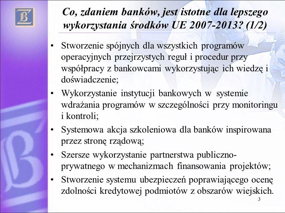 4 Co, zdaniem banków, jest istotne dla lepszego wykorzystania środków UE 2007-2013.