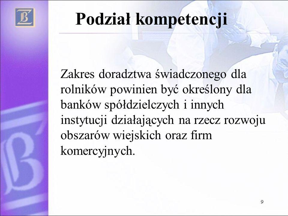 10 DORADZTWO DLA ROLNIKÓW DORADZTWO FINANSOWE DORADZTWO TECHNOLOGICZNE Punkty Doradztwa Unijnego Ośrodki Doradztwa Rolniczego, Izby Rolnicze, firmy produkujące środki do produkcji -Unijne programy pomocowe -Kredyty preferencyjne -Dopłaty bezpośrednie -Środki Wspólnej Polityki Rolnej -Wymogi w zakresie higieny, ochrony środowiska i dobrostanu zwierząt -Doradztwo w zakresie chowu, hodowli, upraw (podział kompetencji) -Środki Wspólnej Polityki Rolnej