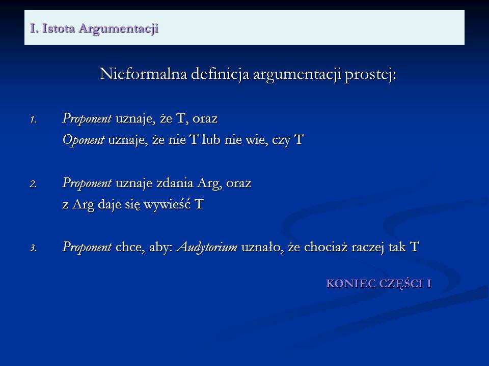 I. Istota Argumentacji Nieformalna definicja argumentacji prostej: 1. Proponent uznaje, że T, oraz Oponent uznaje, że nie T lub nie wie, czy T 2. Prop