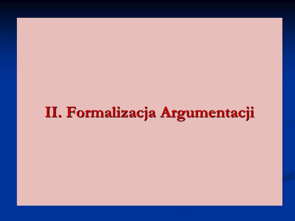 II. Formalizacja Argumentacji