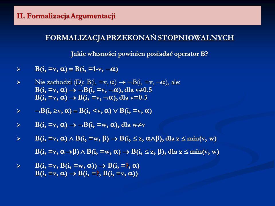 II. Formalizacja Argumentacji FORMALIZACJA PRZEKONAŃ STOPNIOWALNYCH Jakie własności powinien posiadać operator B? B(i, =v, ) B(i, =1-v, ) B(i, =v, ) B