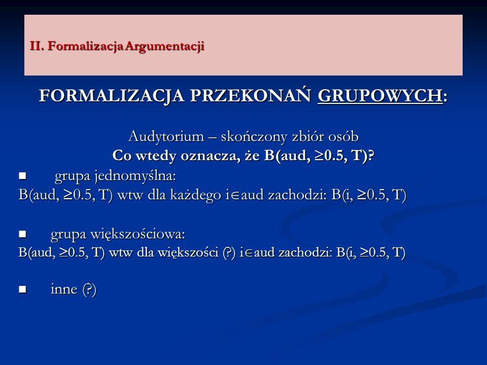 II. Formalizacja Argumentacji FORMALIZACJA PRZEKONAŃ GRUPOWYCH: Audytorium – skończony zbiór osób Co wtedy oznacza, że B(aud, 0.5, T)? grupa jednomyśl