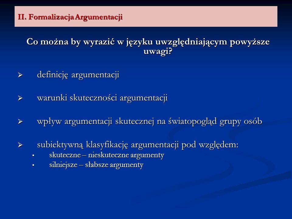 II. Formalizacja Argumentacji Co można by wyrazić w języku uwzględniającym powyższe uwagi? definicję argumentacji definicję argumentacji warunki skute