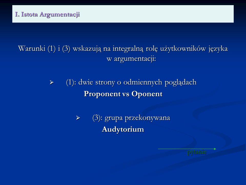 I. Istota Argumentacji Warunki (1) i (3) wskazują na integralną rolę użytkowników języka w argumentacji: (1): dwie strony o odmiennych poglądach (1):