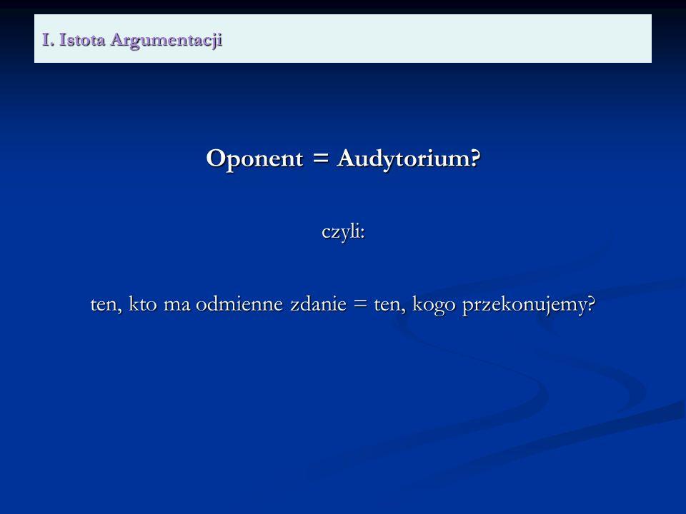 I. Istota Argumentacji Oponent = Audytorium? czyli: ten, kto ma odmienne zdanie = ten, kogo przekonujemy?