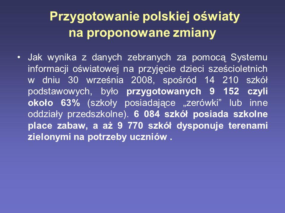 Przygotowanie polskiej oświaty na proponowane zmiany Jak wynika z danych zebranych za pomocą Systemu informacji oświatowej na przyjęcie dzieci sześcio
