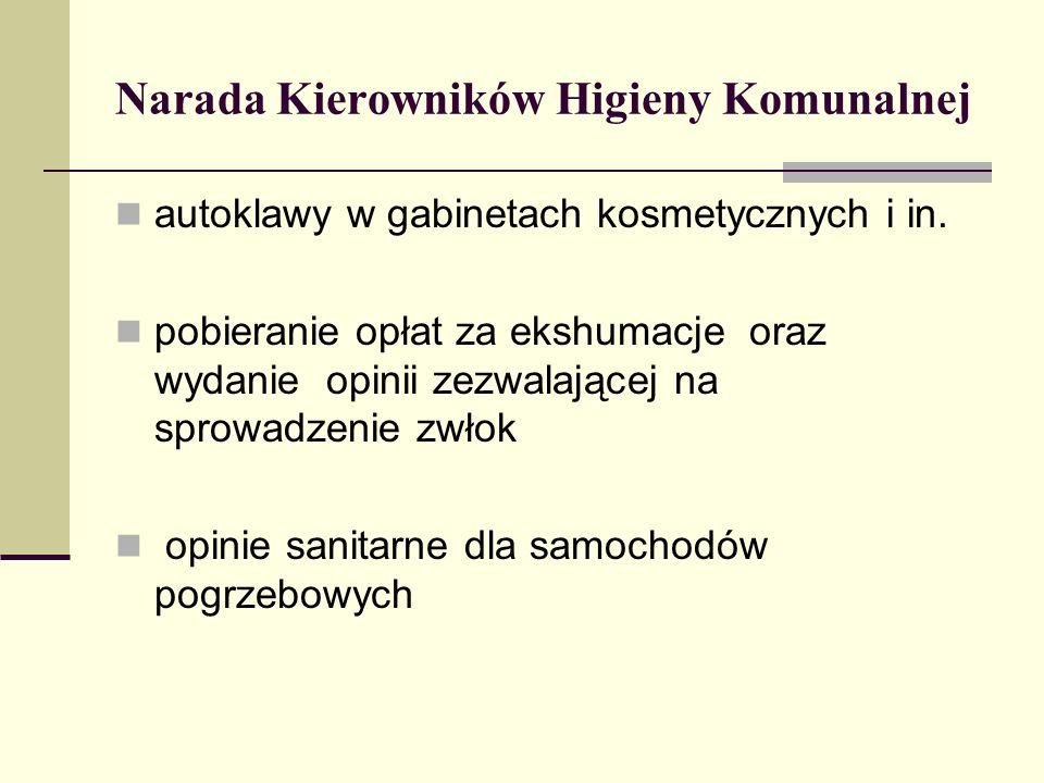 Narada Kierowników Higieny Komunalnej autoklawy w gabinetach kosmetycznych i in. pobieranie opłat za ekshumacje oraz wydanie opinii zezwalającej na sp