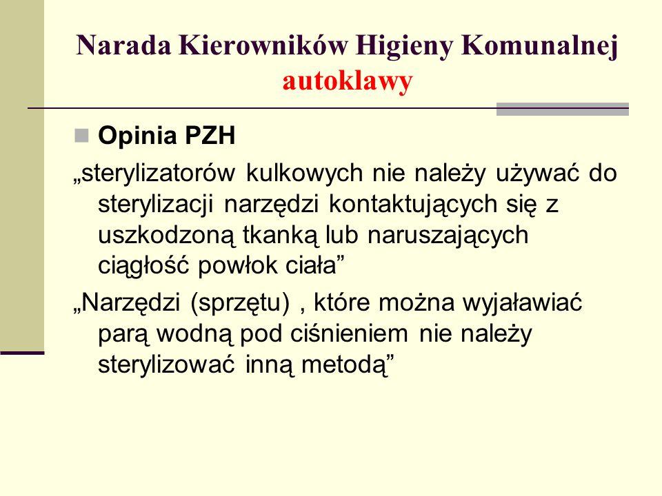 Narada Kierowników Higieny Komunalnej autoklawy Opinia PZH sterylizatorów kulkowych nie należy używać do sterylizacji narzędzi kontaktujących się z us
