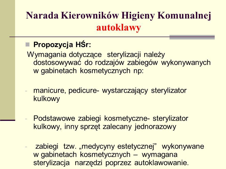 Narada Kierowników Higieny Komunalnej autoklawy Propozycja HŚr: Wymagania dotyczące sterylizacji należy dostosowywać do rodzajów zabiegów wykonywanych