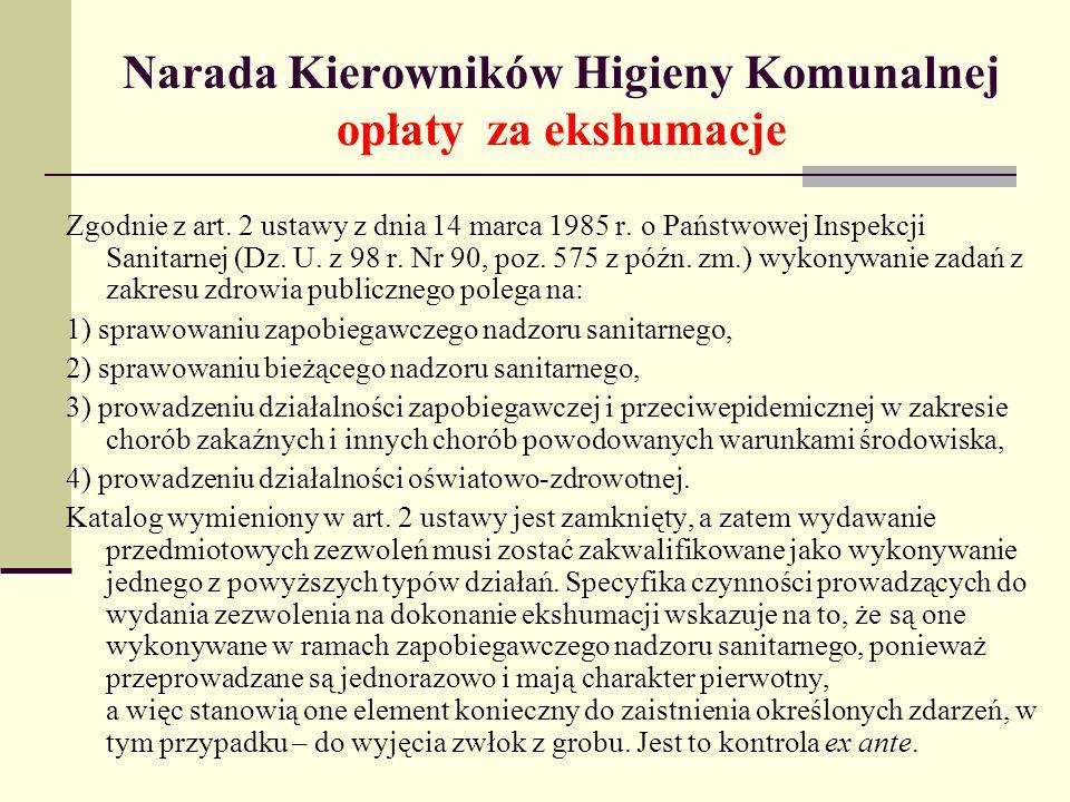 Narada Kierowników Higieny Komunalnej opłaty za ekshumacje Zgodnie z art. 2 ustawy z dnia 14 marca 1985 r. o Państwowej Inspekcji Sanitarnej (Dz. U. z