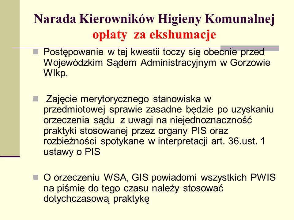 Narada Kierowników Higieny Komunalnej opłaty za ekshumacje Postępowanie w tej kwestii toczy się obecnie przed Wojewódzkim Sądem Administracyjnym w Gor