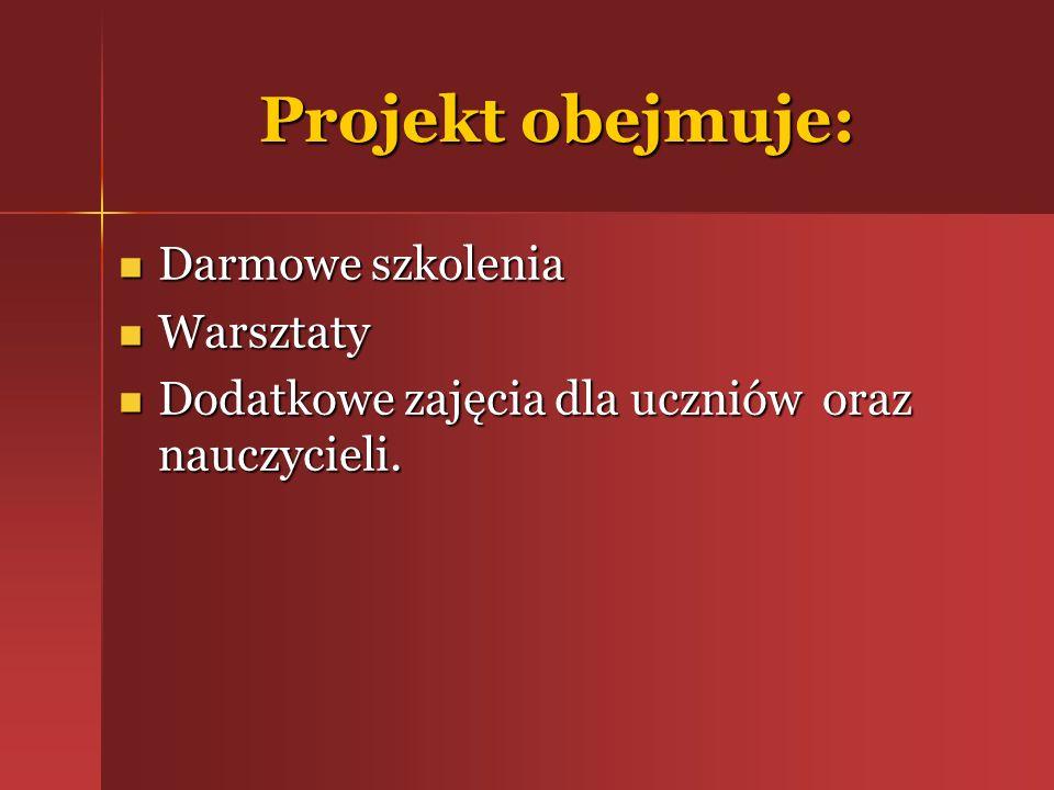 Projekt obejmuje: Darmowe szkolenia Darmowe szkolenia Warsztaty Warsztaty Dodatkowe zajęcia dla uczniów oraz nauczycieli. Dodatkowe zajęcia dla ucznió