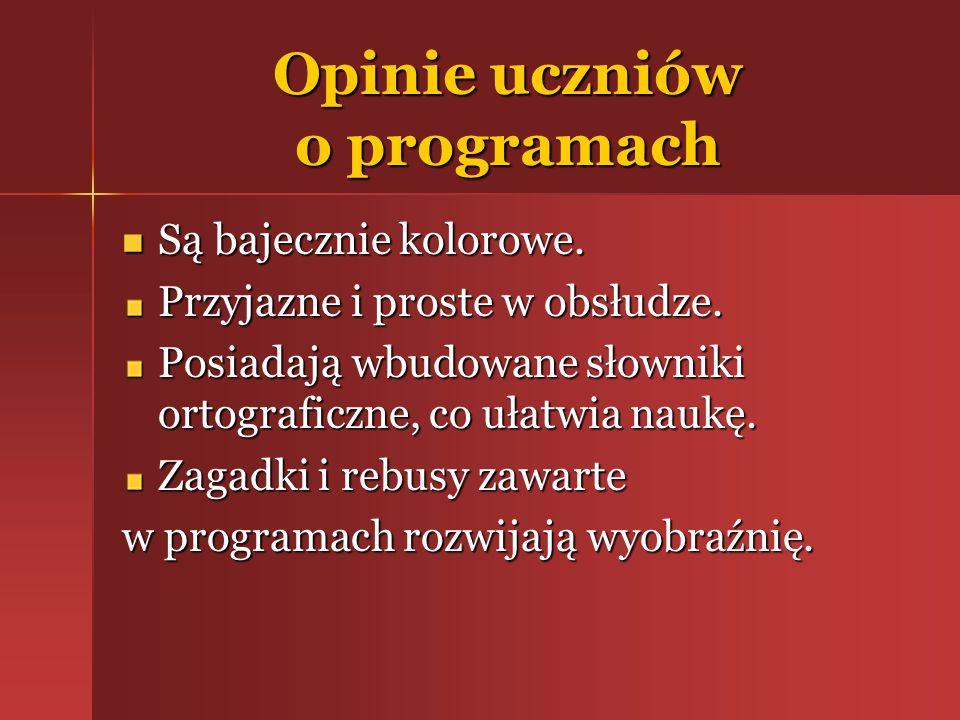 Opinie nauczycieli Wykorzystywane programy zawierają szereg gier i ćwiczeń matematyczno-językowych przeznaczonych dla dzieci.