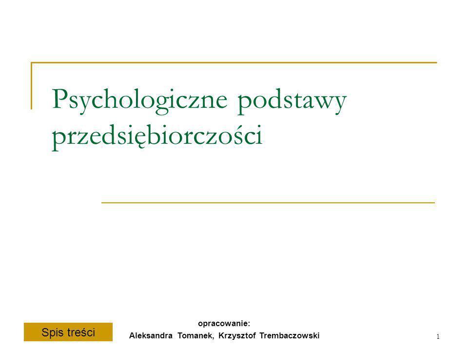 Spis treści opracowanie: Aleksandra Tomanek, Krzysztof Trembaczowski 1 Psychologiczne podstawy przedsiębiorczości