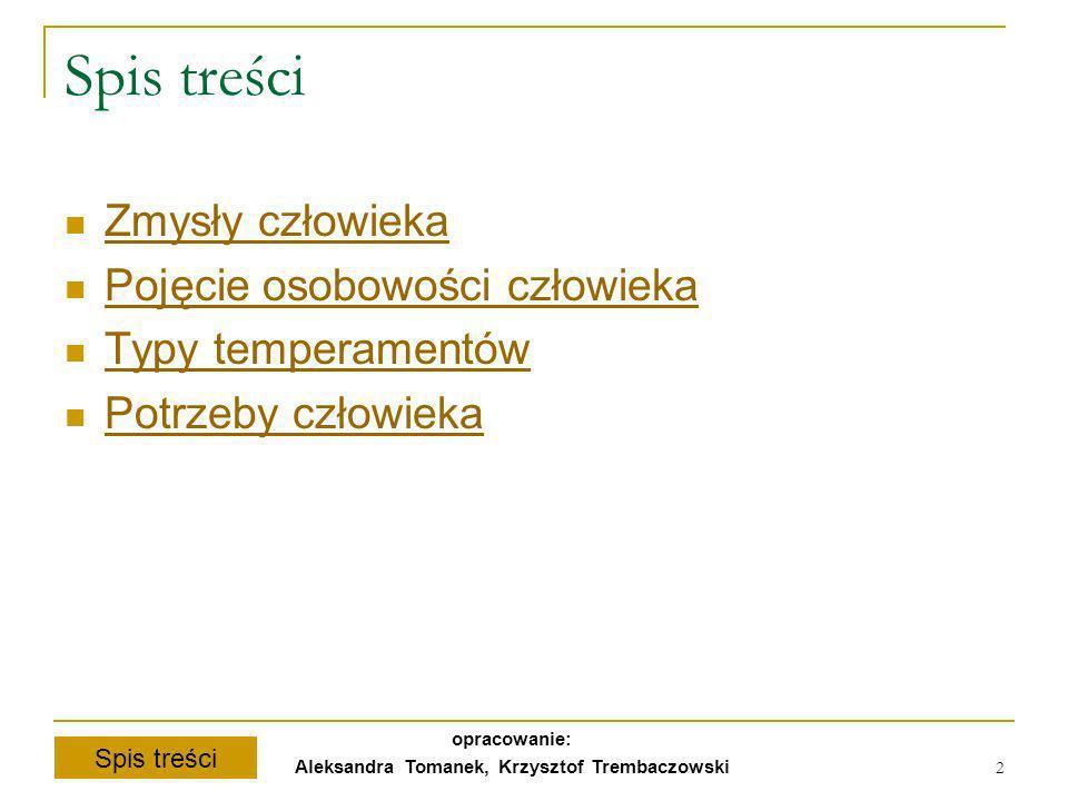 Spis treści opracowanie: Aleksandra Tomanek, Krzysztof Trembaczowski 2 Spis treści Zmysły człowieka Pojęcie osobowości człowieka Typy temperamentów Po