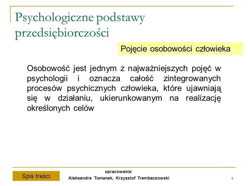 Spis treści opracowanie: Aleksandra Tomanek, Krzysztof Trembaczowski 4 Psychologiczne podstawy przedsiębiorczości Pojęcie osobowości człowieka Osobowo