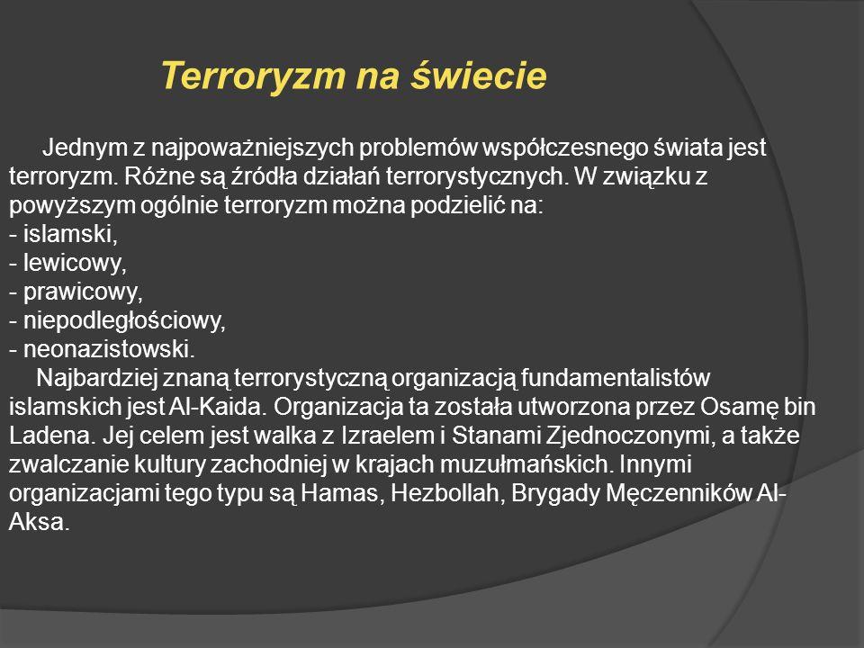 Jednym z najpoważniejszych problemów współczesnego świata jest terroryzm. Różne są źródła działań terrorystycznych. W związku z powyższym ogólnie terr