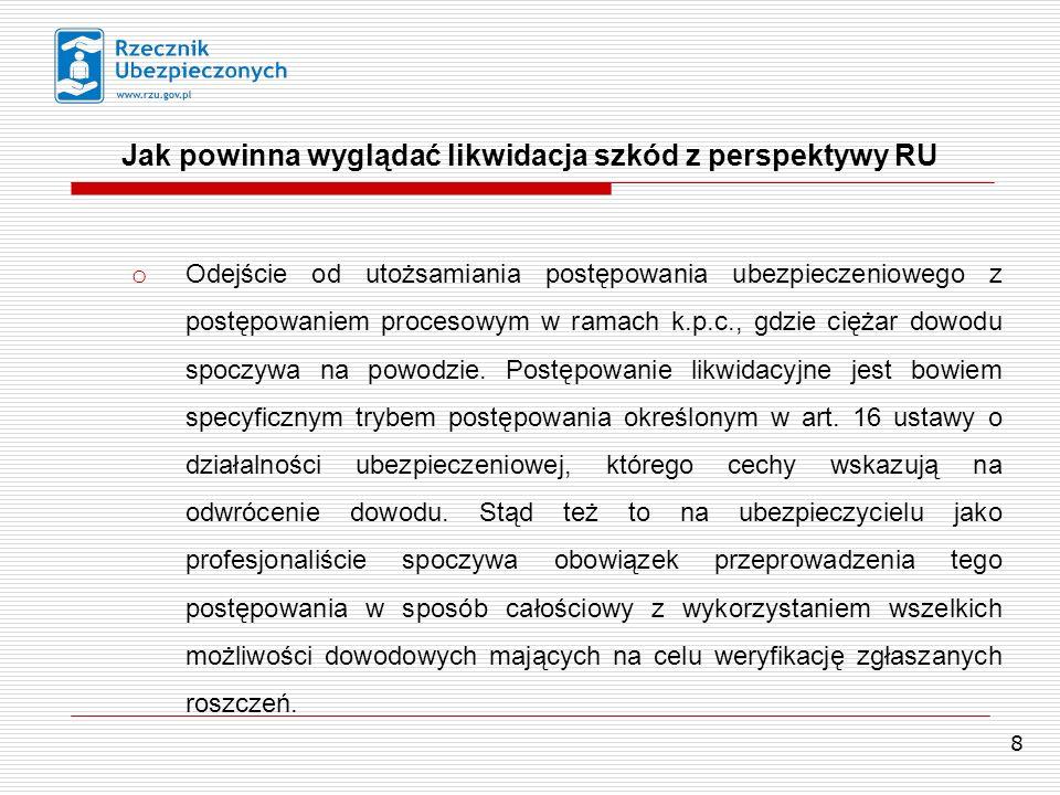 9 Transparentność; Jak powinna wyglądać likwidacja szkód z perspektywy RU o Udostępnianie ubezpieczonemu, poszkodowanemu etc.