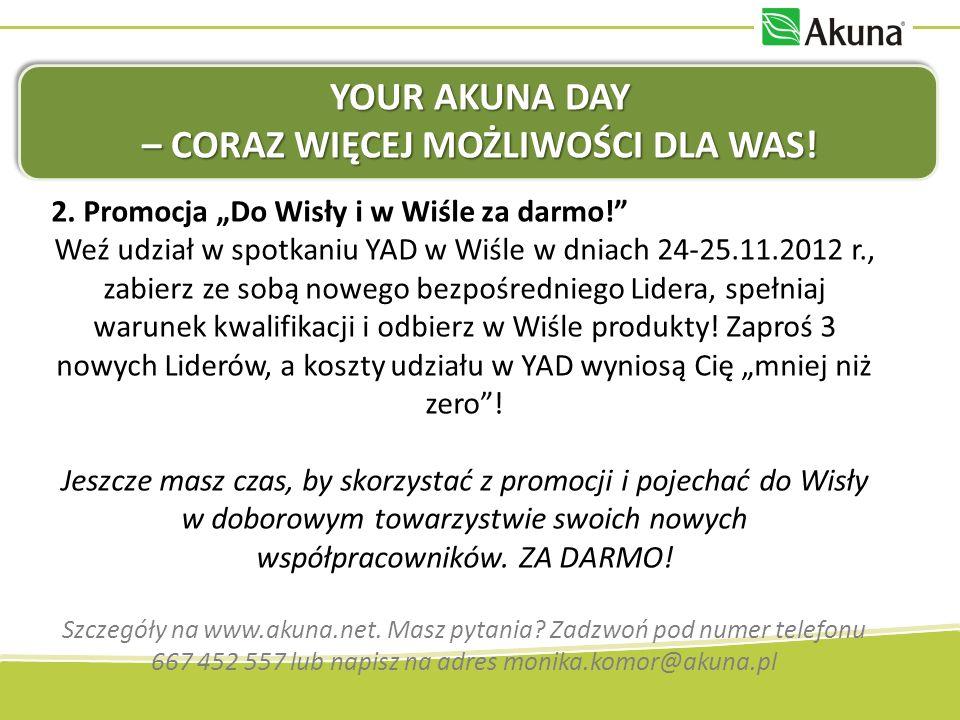 YOUR AKUNA DAY – CORAZ WIĘCEJ MOŻLIWOŚCI DLA WAS! 2. Promocja Do Wisły i w Wiśle za darmo! Weź udział w spotkaniu YAD w Wiśle w dniach 24-25.11.2012 r