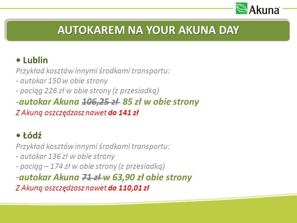 AUTOKAREM NA YOUR AKUNA DAY Lublin Przykład kosztów innymi środkami transportu: - autokar 150 w obie strony - pociąg 226 zł w obie strony (z przesiadk