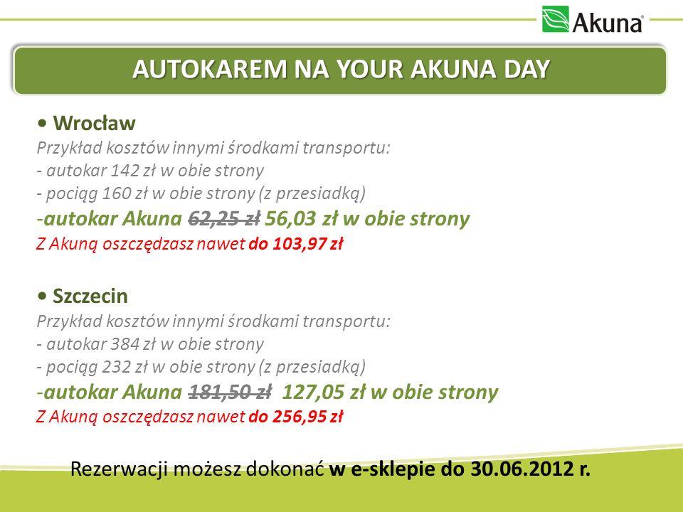 AUTOKAREM NA YOUR AKUNA DAY Wrocław Przykład kosztów innymi środkami transportu: - autokar 142 zł w obie strony - pociąg 160 zł w obie strony (z przes