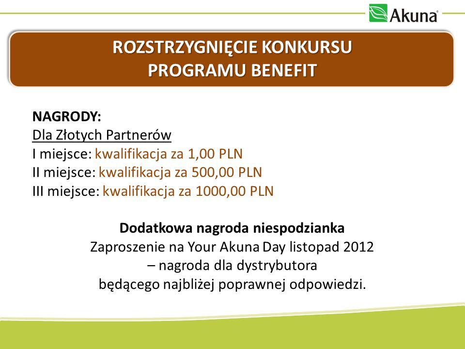 ROZSTRZYGNIĘCIE KONKURSU PROGRAMU BENEFIT NAGRODY: Dla Złotych Partnerów I miejsce: kwalifikacja za 1,00 PLN II miejsce: kwalifikacja za 500,00 PLN II