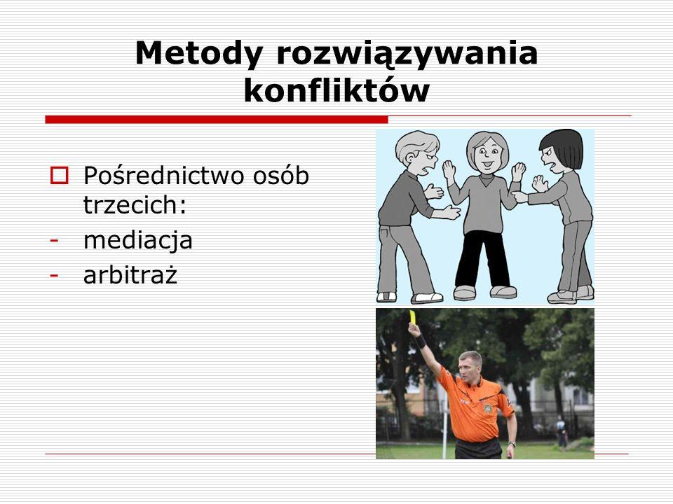 Metody rozwiązywania konfliktów Pośrednictwo osób trzecich: -mediacja -arbitraż