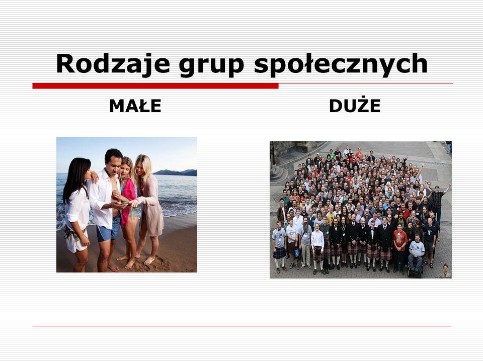 Rodzaje grup społecznych MAŁE DUŻE
