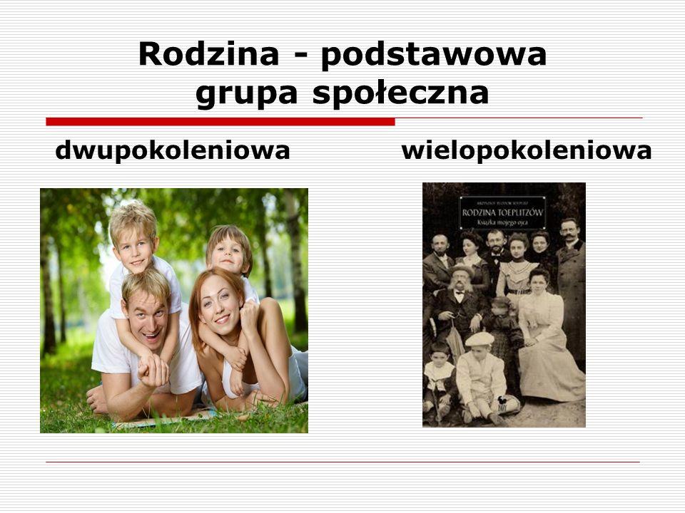Rodzina - podstawowa grupa społeczna dwupokoleniowa wielopokoleniowa
