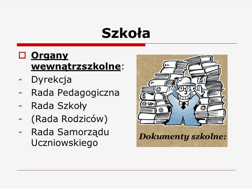 Szkoła Organy wewnątrzszkolne: -Dyrekcja -Rada Pedagogiczna -Rada Szkoły -(Rada Rodziców) -Rada Samorządu Uczniowskiego