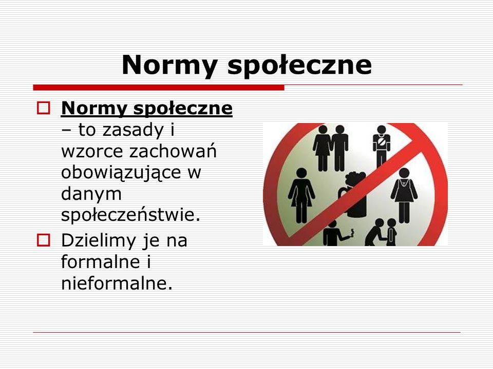 Normy społeczne Normy społeczne – to zasady i wzorce zachowań obowiązujące w danym społeczeństwie.