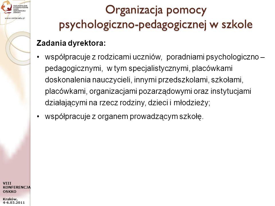 www.oskko.edu.pl VIII KONFERENCJA OSKKO Kraków, 4-6.03.2011 Organizacja pomocy psychologiczno-pedagogicznej w szkole Zadania dyrektora: współpracuje z