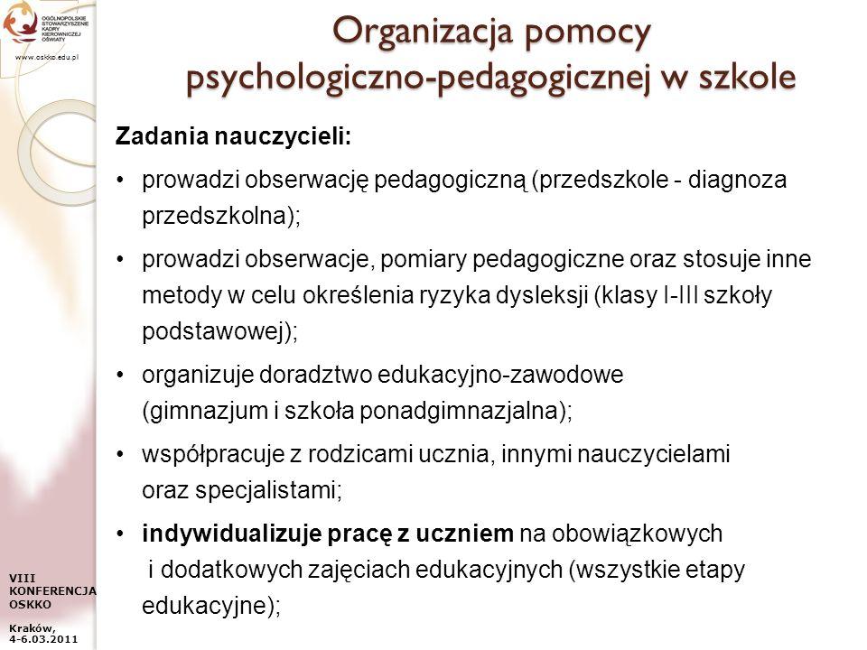 www.oskko.edu.pl VIII KONFERENCJA OSKKO Kraków, 4-6.03.2011 Organizacja pomocy psychologiczno-pedagogicznej w szkole Zadania nauczycieli: prowadzi obs