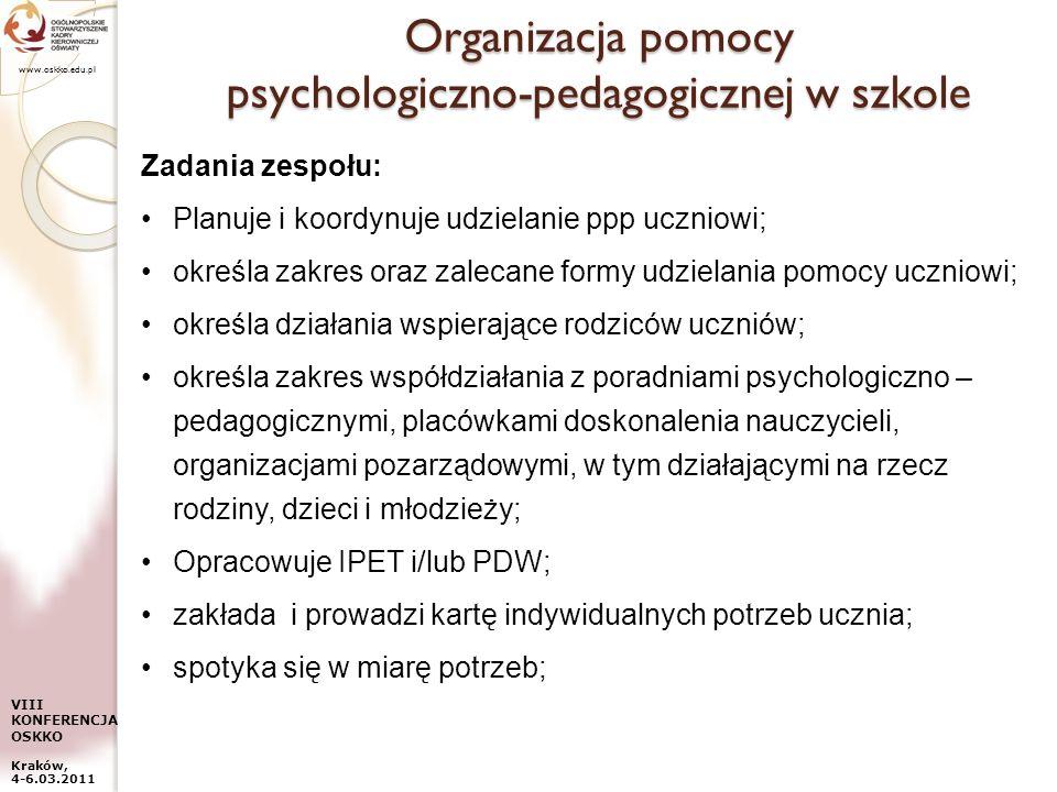 www.oskko.edu.pl VIII KONFERENCJA OSKKO Kraków, 4-6.03.2011 Organizacja pomocy psychologiczno-pedagogicznej w szkole Zadania zespołu: Planuje i koordy