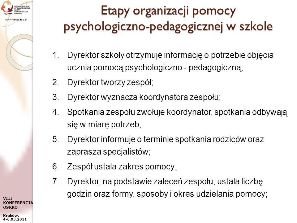 www.oskko.edu.pl VIII KONFERENCJA OSKKO Kraków, 4-6.03.2011 Etapy organizacji pomocy psychologiczno-pedagogicznej w szkole 1.Dyrektor szkoły otrzymuje