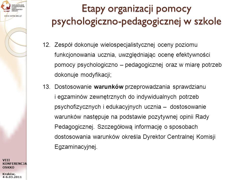 www.oskko.edu.pl VIII KONFERENCJA OSKKO Kraków, 4-6.03.2011 Etapy organizacji pomocy psychologiczno-pedagogicznej w szkole 12.Zespół dokonuje wielospe
