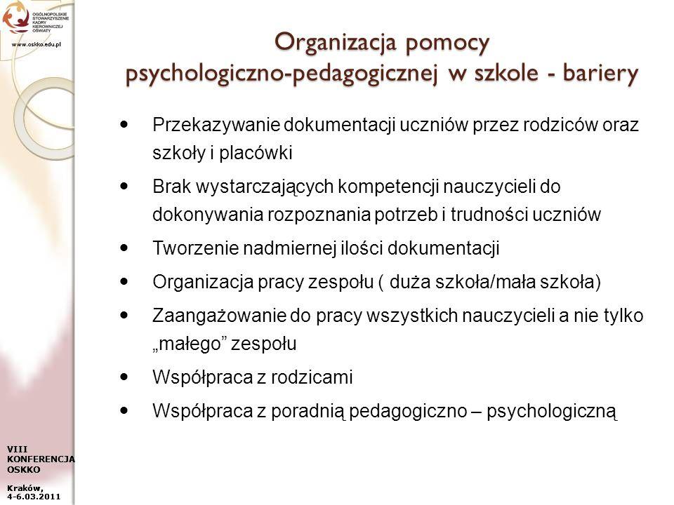 www.oskko.edu.pl VIII KONFERENCJA OSKKO Kraków, 4-6.03.2011 Organizacja pomocy psychologiczno-pedagogicznej w szkole - bariery Przekazywanie dokumenta