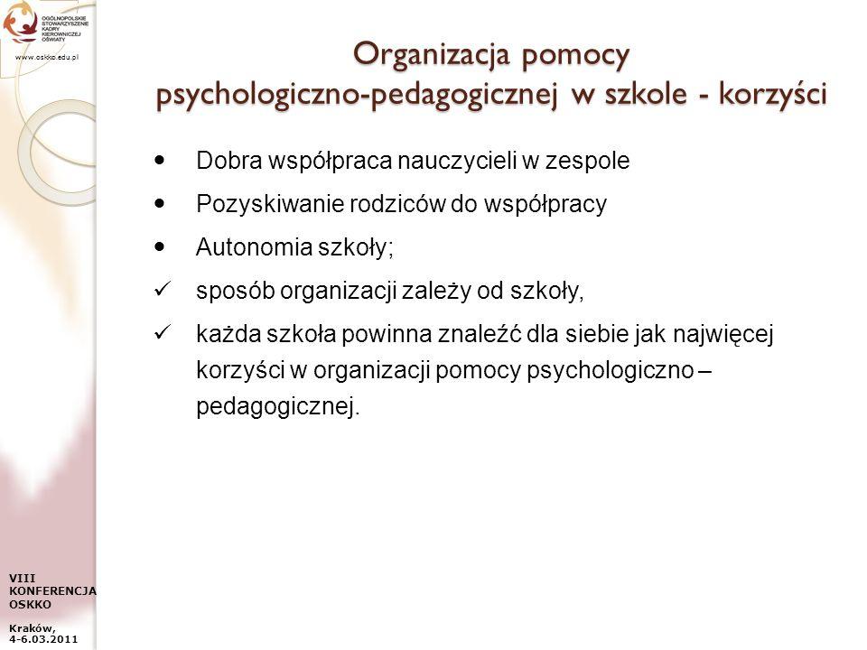 www.oskko.edu.pl VIII KONFERENCJA OSKKO Kraków, 4-6.03.2011 Organizacja pomocy psychologiczno-pedagogicznej w szkole - korzyści Dobra współpraca naucz