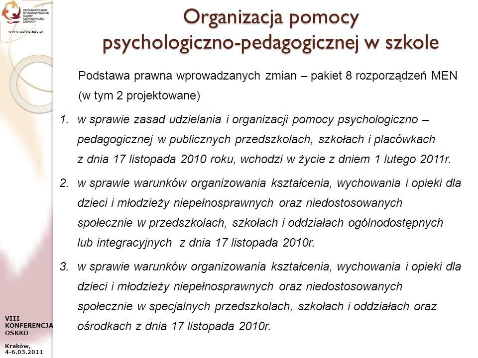www.oskko.edu.pl VIII KONFERENCJA OSKKO Kraków, 4-6.03.2011 Organizacja pomocy psychologiczno-pedagogicznej w szkole Podstawa prawna wprowadzanych zmi