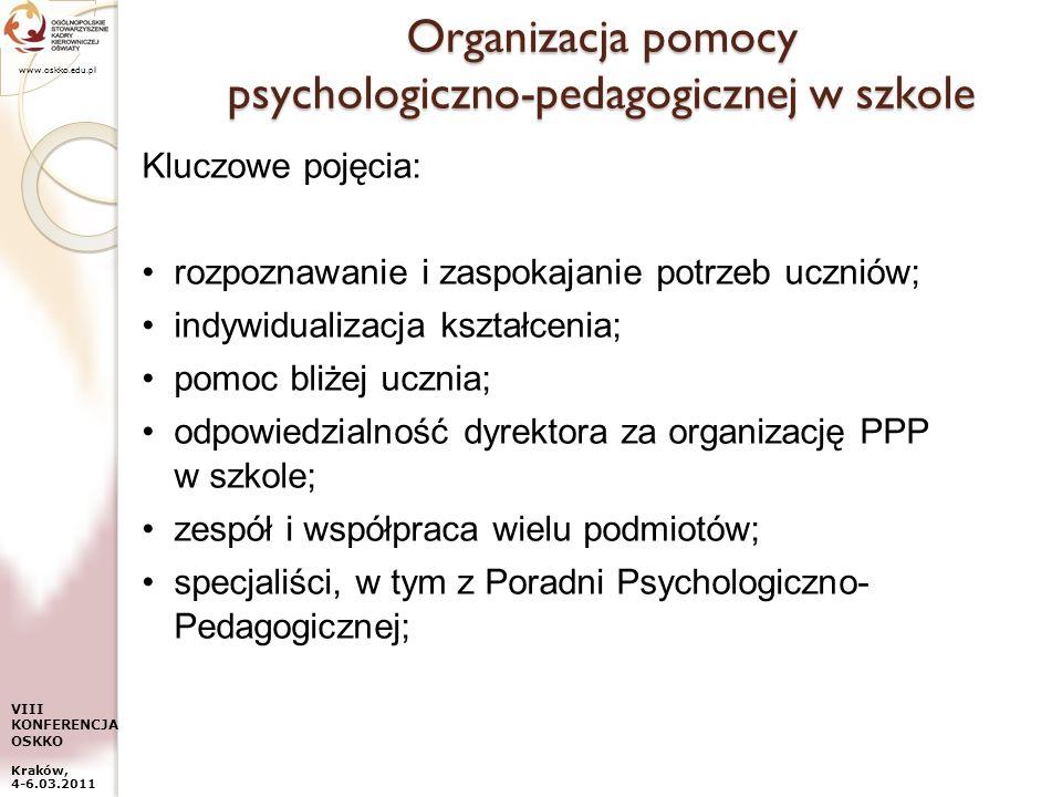 www.oskko.edu.pl VIII KONFERENCJA OSKKO Kraków, 4-6.03.2011 Organizacja pomocy psychologiczno-pedagogicznej w szkole Kluczowe pojęcia: rozpoznawanie i