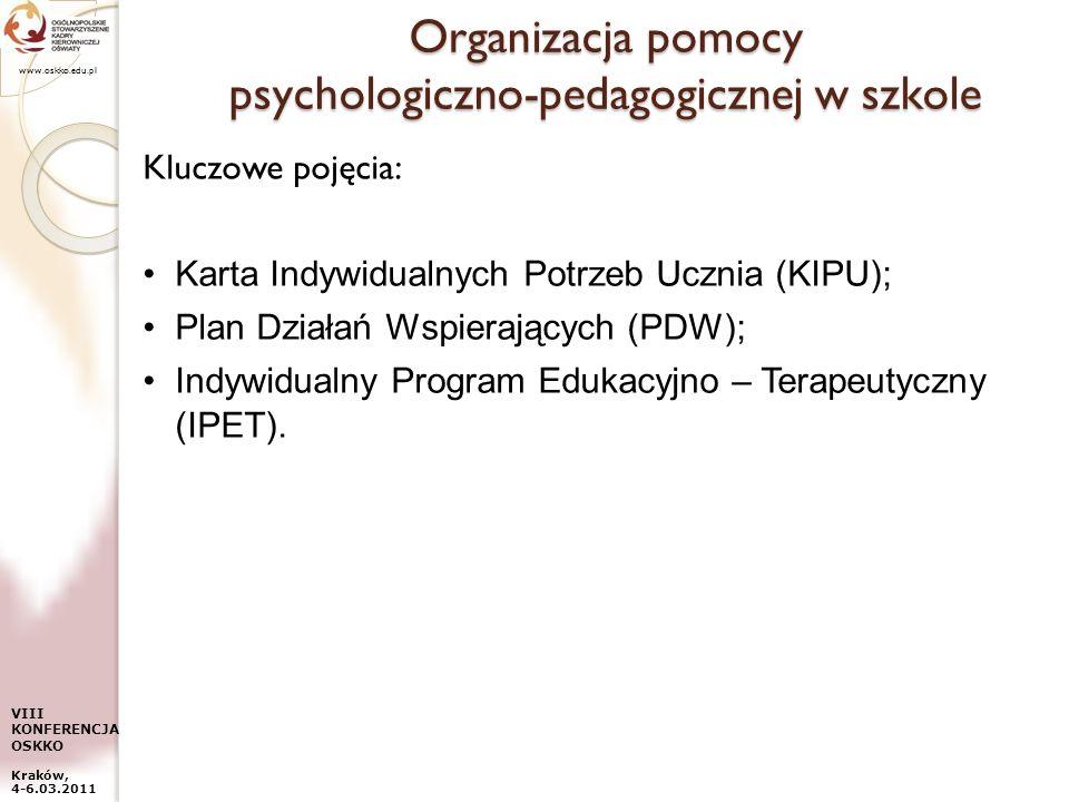 www.oskko.edu.pl VIII KONFERENCJA OSKKO Kraków, 4-6.03.2011 Organizacja pomocy psychologiczno-pedagogicznej w szkole Kluczowe pojęcia: Karta Indywidua