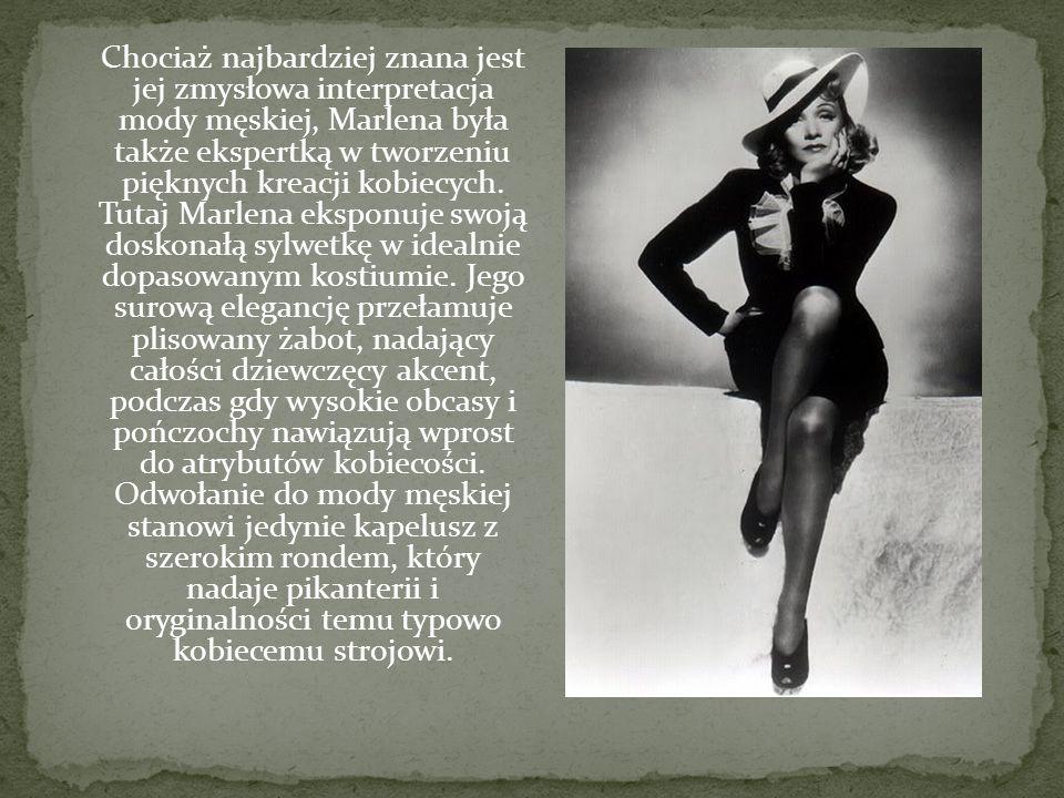 Chociaż najbardziej znana jest jej zmysłowa interpretacja mody męskiej, Marlena była także ekspertką w tworzeniu pięknych kreacji kobiecych. Tutaj Mar