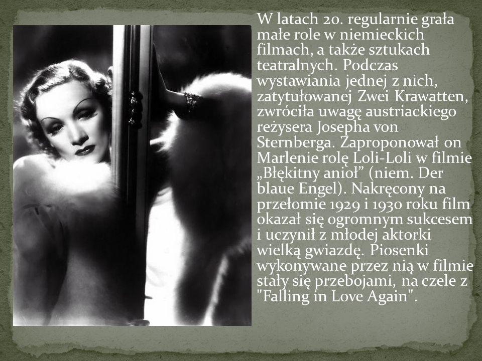 W latach 20. regularnie grała małe role w niemieckich filmach, a także sztukach teatralnych. Podczas wystawiania jednej z nich, zatytułowanej Zwei Kra