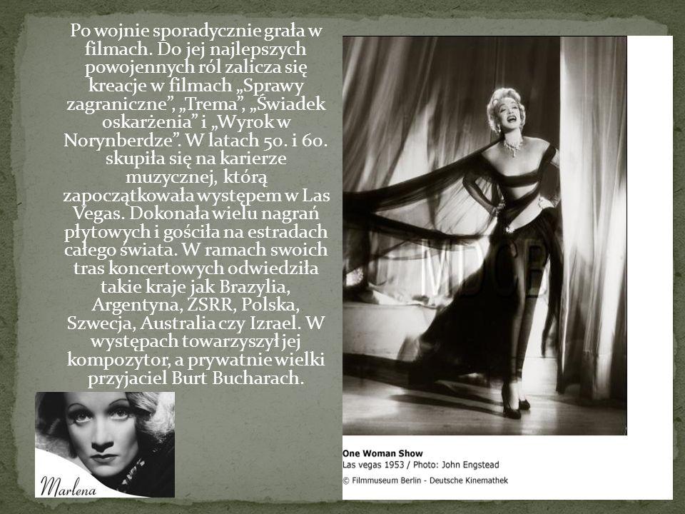 Po wojnie sporadycznie grała w filmach. Do jej najlepszych powojennych ról zalicza się kreacje w filmach Sprawy zagraniczne, Trema, Świadek oskarżenia