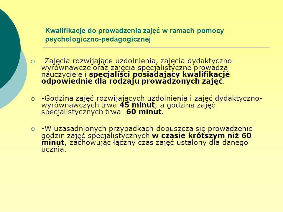 Kwalifikacje do prowadzenia zajęć w ramach pomocy psychologiczno-pedagogicznej -Zajęcia rozwijające uzdolnienia, zajęcia dydaktyczno- wyrównawcze oraz