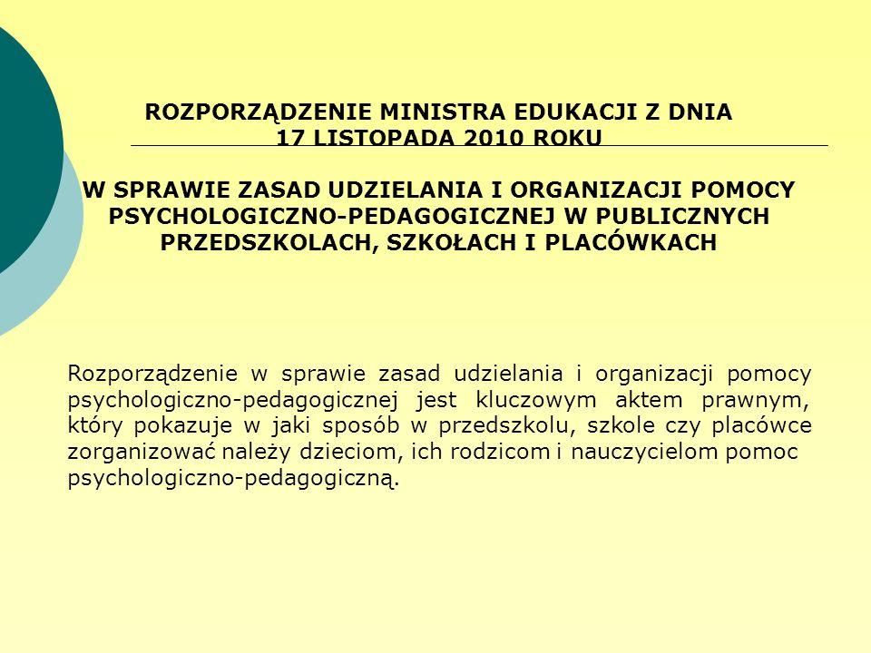 ROZPORZĄDZENIE MINISTRA EDUKACJI Z DNIA 17 LISTOPADA 2010 ROKU W SPRAWIE ZASAD UDZIELANIA I ORGANIZACJI POMOCY PSYCHOLOGICZNO-PEDAGOGICZNEJ W PUBLICZN