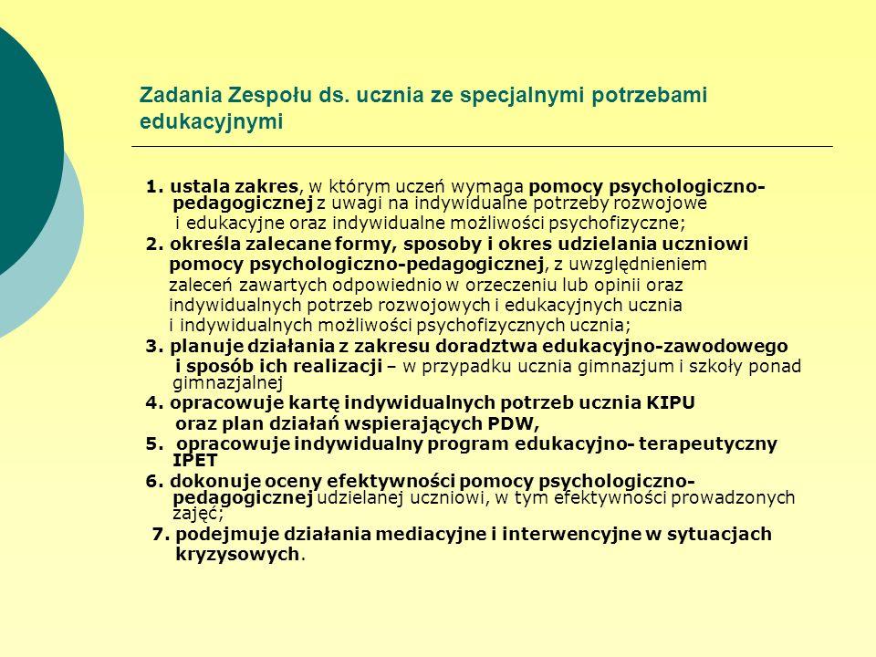 Zadania Zespołu ds. ucznia ze specjalnymi potrzebami edukacyjnymi 1. ustala zakres, w którym uczeń wymaga pomocy psychologiczno- pedagogicznej z uwagi