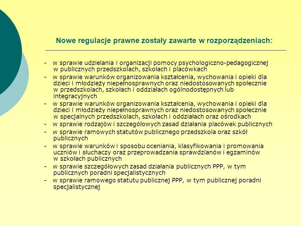 Nowe regulacje prawne zostały zawarte w rozporządzeniach: - w sprawie udzielania i organizacji pomocy psychologiczno-pedagogicznej w publicznych przed