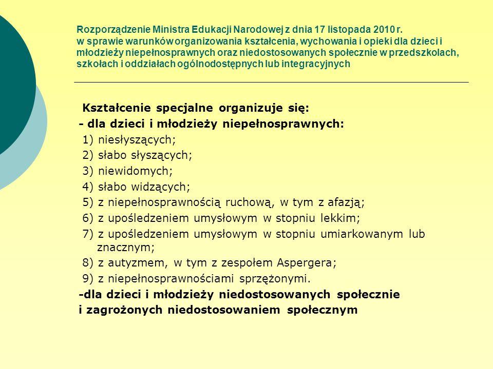 Rozporządzenie Ministra Edukacji Narodowej z dnia 17 listopada 2010 r. w sprawie warunków organizowania kształcenia, wychowania i opieki dla dzieci i